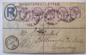 Großbritannien, Queen Victoria R-Ganzsache mit Zusatz 1891 n.Billwärder (55770)