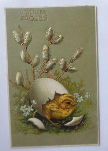 Ostern, Küken, Weidenkätzchen, Eierschale,     1906, Prägekarte   ♥ (65512)