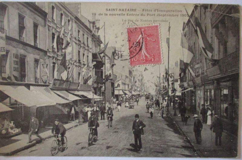Frankreich, St. Nazaire, Fetes de Inauguration, Rue de Nantes 1907 (33043)