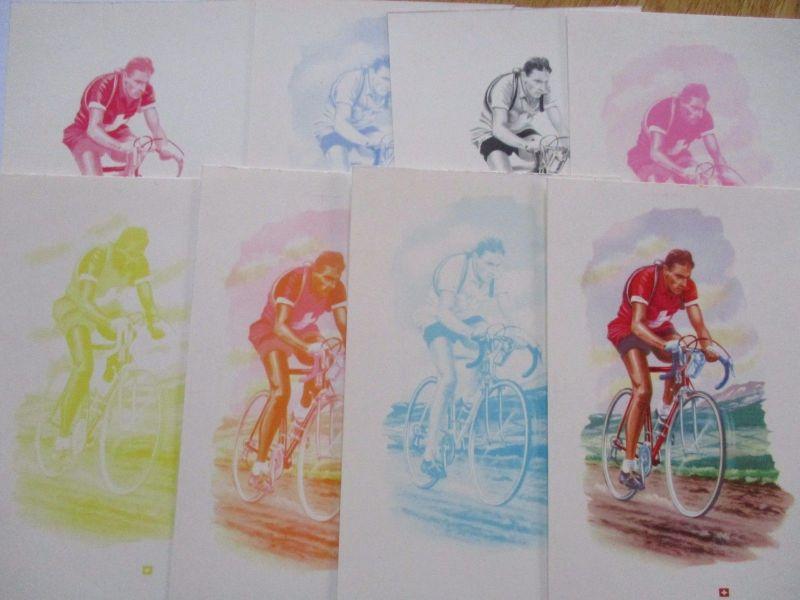 Fahrrad, Radrennen, Ferdy Kübler, 8 Phasendrucke in Ansichtskartengröße  (37446)