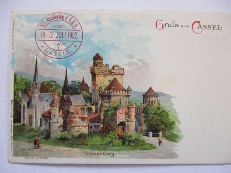 Fahrrad, Bundestag DRB Cassel 1902, Gruss aus Litho (28705)