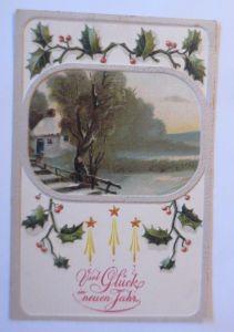 Neujahr, Winterlandschaft, Disteln,    1908, Prägekarte ♥ (67558)