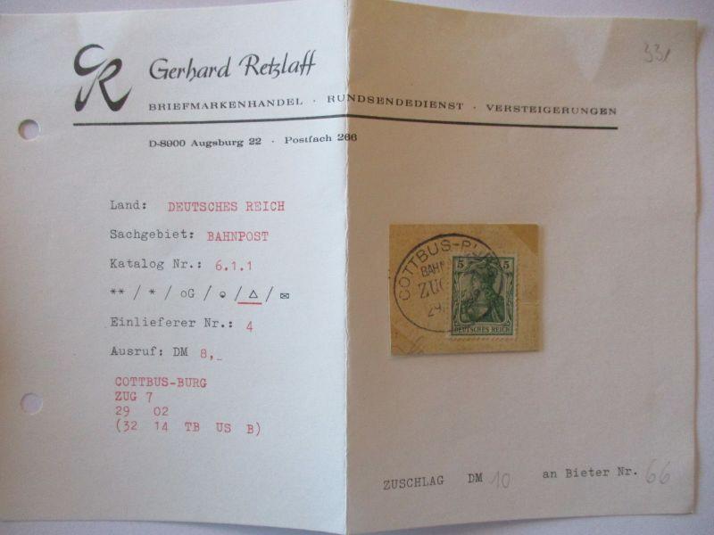 D.Reich, Bahnpost Cottbus Burg, Briefstück 1909 auf alter Loskarte (57323)