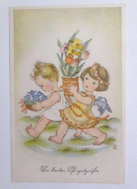 Pfingsten, Engel, Blumen,   1930, sig. R.  ♥ (67641)