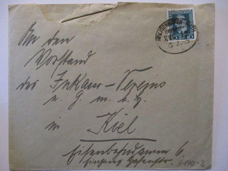 Bahnpost Heiligenhafen Orth, Brief 1925 (57325)