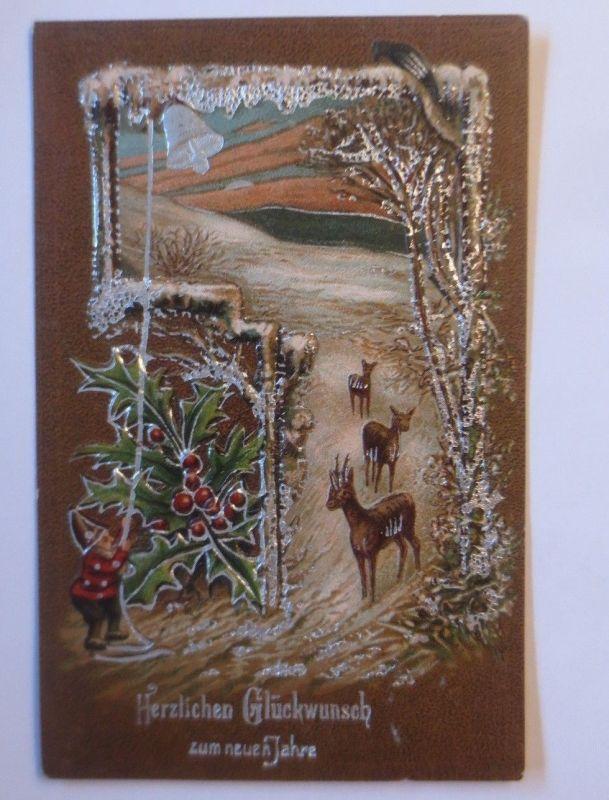 Neujahr, Zwerge, Disteln, Rehe, Winterlandschaft,   1908, Prägekarte ♥ (67550)