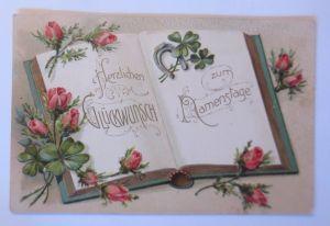Namenstag, Buch, Rosen, Kleeblatt,  1908, Prägekarte ♥ (67548)