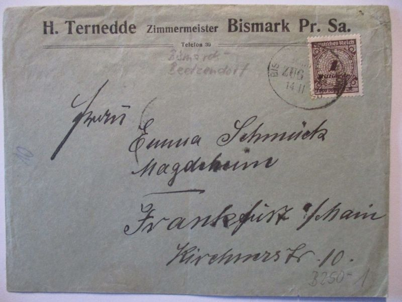 Bahnpost Bismarck Beetzendorf Novemberbrief 1923 (57320)