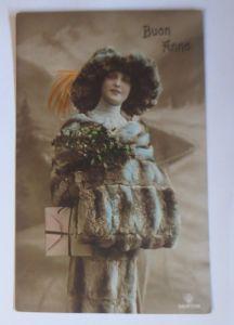 Neujahr, Frauen, Mode, Hutmode, Muff, Misteln,      1913 ♥ (67613)