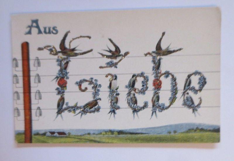 Schwalben, Blumen, Aus Liebe,   1910, Glitzerkarte ♥ (67592)