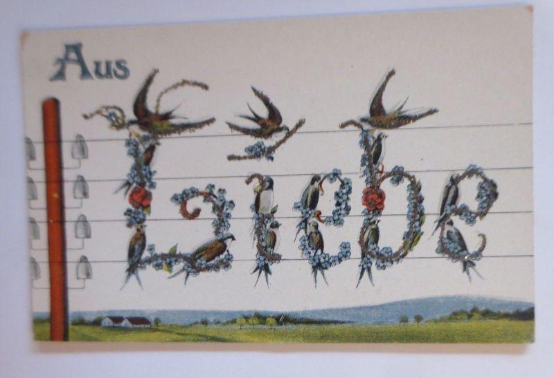 Schwalben, Blumen, Aus Liebe,   1910, Glitzerkarte ♥ (67591)