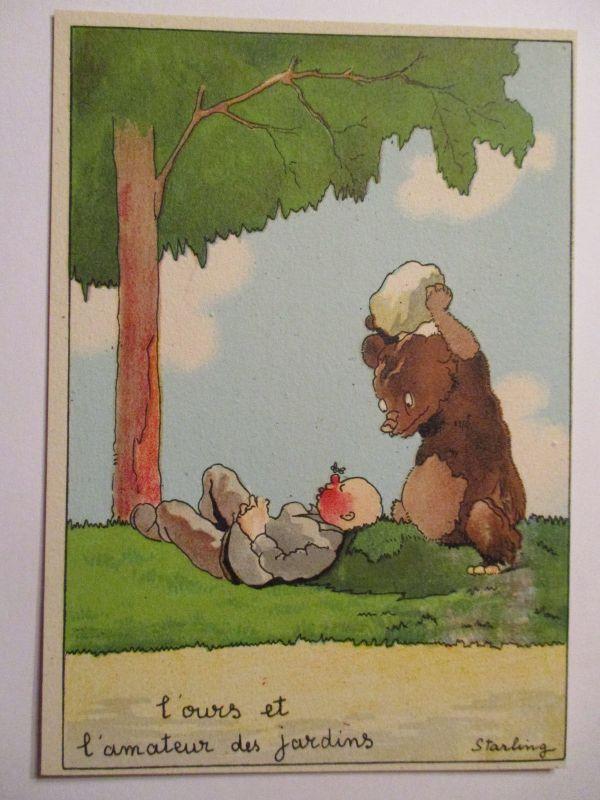 Tiere, Bären, Scherzkarte sign. Starling (34740)
