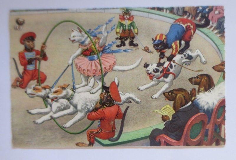 Verlag Max Künzli, Personifiziert, Katzen, Dackel, Affe, Zirkus, 1948  ♥ (67479)