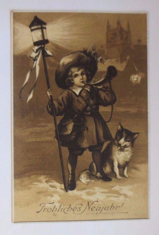Neujahr, Kinder, Nachtwächter, Horn, Laterne   1911, Meissner & Buch   ♥ (53590)