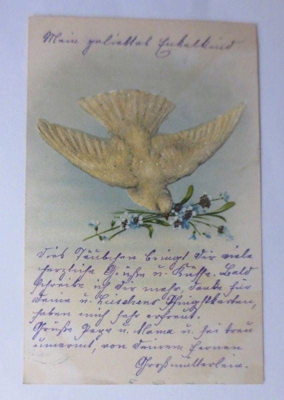 Tauben, Vergissmeinnicht   1902, Glitzerperlchen ♥ (63696)