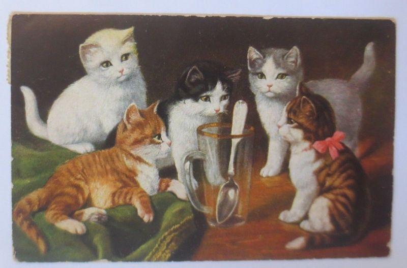 Katzen, Glas, Löffel,  1932  ♥ (67507)