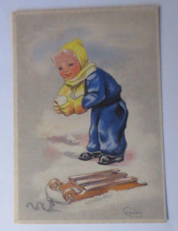 Kinder, Winter, Schlitten, Schneeball,   1940, Swildens  ♥ (67721)