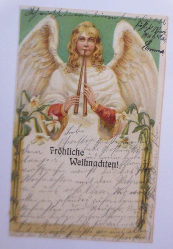 Weihnachten, Engel, Flöte, Lilien, Jugendstil,  1901 ♥ (66507)
