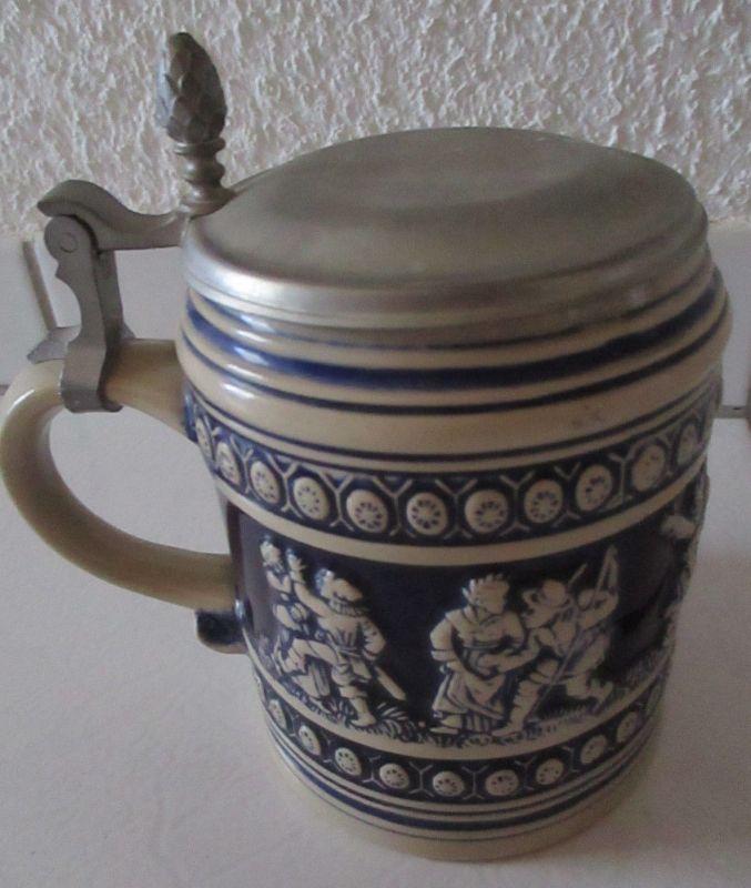 Steinzeugkrug Bierkrug Steinzeug Keramik mit Zinndeckel ca. 50er Jahre