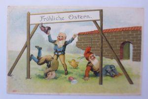 Ostern, Zwerge, Turnen, Küken, Ostereier,  1907, Prägekarte ♥ (67999)