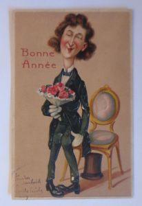 Neujahr, Männer, Mode, Rosen, Zylinder,    1909, Prägekarte ♥ (67918)