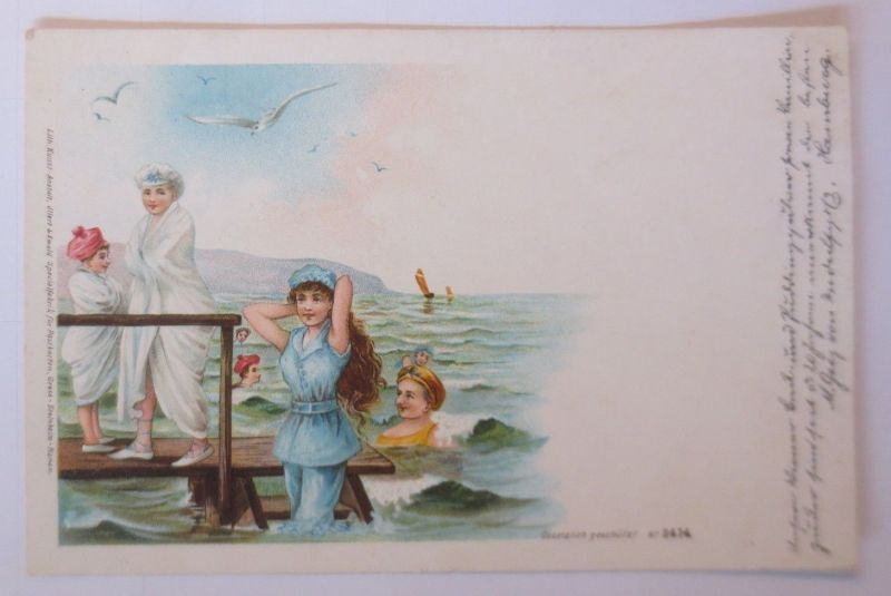 Bademoden, Frauen, Mode, Meer, Möwe,     1900, Litho ♥ (68476)