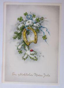 Neujahr, Kleeblatt, Hufeisen, Marienkäfer, Hufeisen,   1950  ♥ (67963)