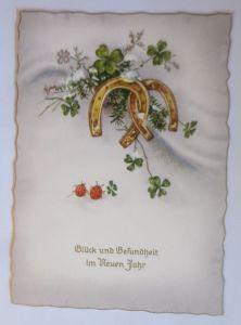 Neujahr, Kleeblatt, Hufeisen, Marienkäfer,   1950  ♥ (67962)