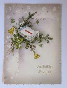 Neujahr, Kalender, Kleeblatt, Tannenzweig, Glocken, 1950  ♥ (67959)