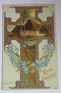 Ostern, Kreuz, Bauernhof, Landschaft, Blumen,  1910, Prägekarte ♥ (68127)