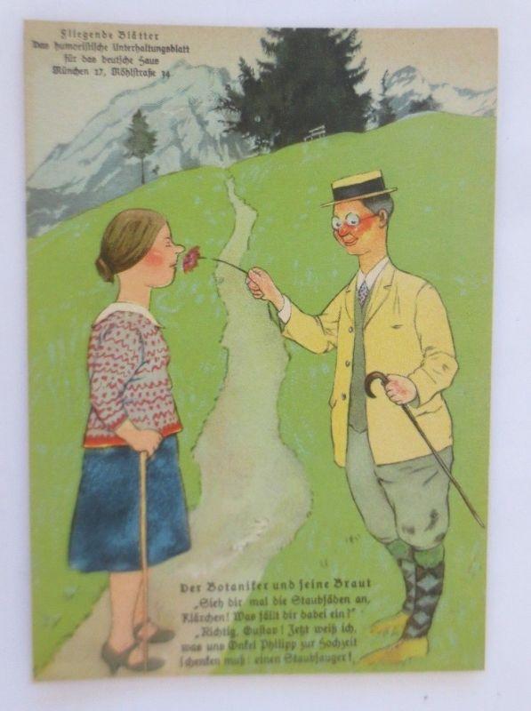 Fliegende Blätter Humorkarte, Der Botaniker und seine Braut,    1940 ♥ (68807)