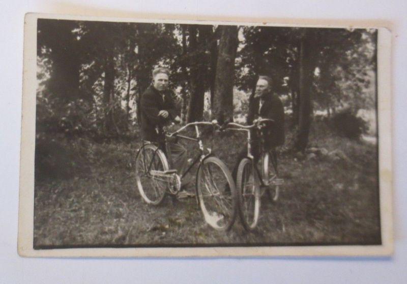 Fahrrad, Radfahrer, Wald,  1910, Fotokarte ♥ (66853)