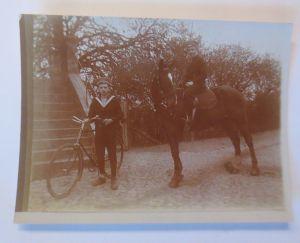 Fahrrad, Matrose, Pferd, Reiter,   1910, Foto ♥ (63262)
