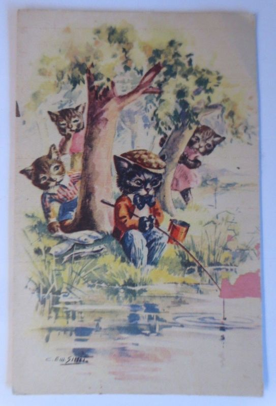 Personifiziert, Katzen, Angeln, Fisch,    1930  ♥ (40402)
