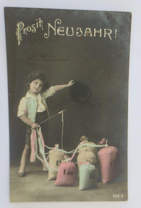 Neujahr, Kinder, Sack Münzen,   1915 ♥ (68724)