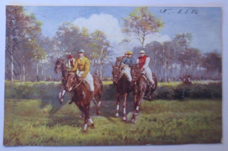 Pferde, Pferderennen, Jockey,  1906, Oilette ♥ (68568)
