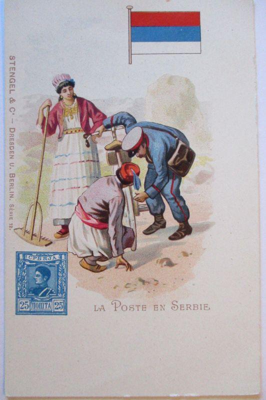 Serbien Post Briefträger Postbote Fahrrad, Verlag Stengel ca. 1900 (63275)