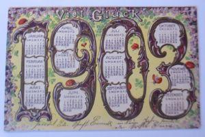 Neujahr, Jahreszahl, Kalender, Veilchen,  1902, Prägekarte ♥ (66547)