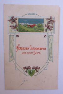 Neujahr, Jugendstil, Landschaft, Haus, Blumen,    1907, Prägekarte ♥ (11839)