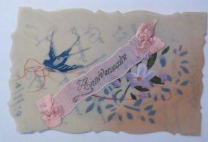 Kunststoffkarte Handgemalt, Blumen, Schwalbe,  1920  ♥ (18929)