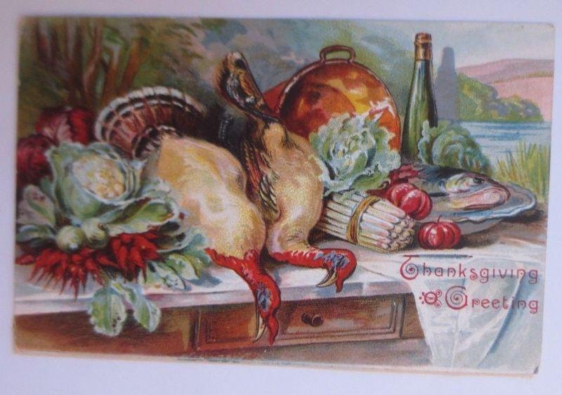 Thanksgiving Greeting, Truthahn, Gemüse, Festmahl,  1909, Prägekarte ♥ (29730)