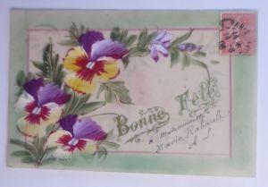Kunststoffkarte Handgemalt, Stiefmütterchen,  1908  ♥ (12190)