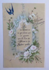 Kunststoffkarte Handgemalt, Blumen, Rosen,  1910  ♥ (7029)