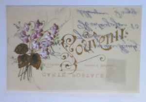 Kunststoffkarte Handgemalt, Blumen,  1910  ♥ (38015)