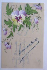 Kunststoffkarte Handgemalt, Stiefmütterchen,   1910  ♥ (49363)
