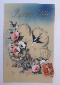 Kunststoffkarte Handgemalt, Blumen, Schwalbe,  1910  ♥ (63515)