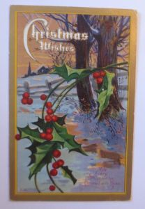 Weihnachten, Winter, Disteln, Wald,  1909, Prägekarte ♥ (65459)