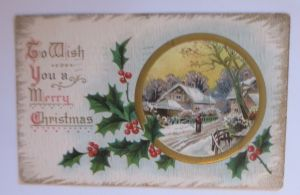 Weihnachten, Haus, Winter, Disteln,  1910, Prägekarte ♥ (62426)