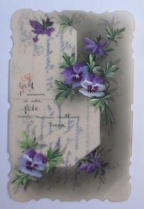 Kunststoffkarte Handgemalt, Blumen, 1910  ♥ (34785)