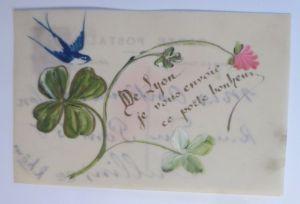 Kunststoffkarte Handgemalt, Kleeblatt, Schwalbe 1910  ♥ (60811)